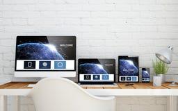 Multidevice desktop landing page communications Royalty Free Stock Photos