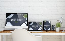 Multidevice desktop digital agency. Multidevice desktop with digital agency website on screens. 3d rendering Royalty Free Stock Image