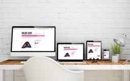Multidevice desktop online shop. Multidevice desktop with responsive online shop page screens. 3d rendering Stock Images