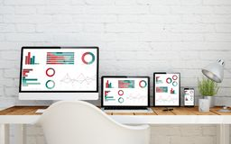 Multidevice desktop finances. Multidevice desktop with responsive finances page screens. 3d rendering Royalty Free Stock Images