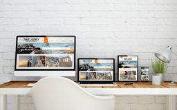 Multidevice desktop travel agency. Multidevice desktop with travel agency screens. 3d rendering Stock Images
