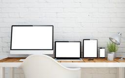 multidevice skrivbord Fotografering för Bildbyråer
