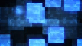Multidimensional Sparkling Big Squares. A volumetric 3d illustration of big bright blue and white squares in the black background. The glowing colors play in a Royalty Free Stock Photo