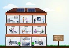 Multidisciplinaire Kliniek in de vorm van een modern gebouw op een blauwe achtergrond Stock Foto