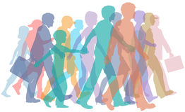 Multidão colorida de caminhada das silhuetas dos povos Fotos de Stock
