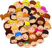 Multidão de desenhos animados das crianças Fotografia de Stock