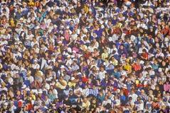 Multidão de povos multiculturais na Rosa-Bacia Foto de Stock Royalty Free