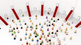 Multidão dos desenhos animados, Salão Imagem de Stock