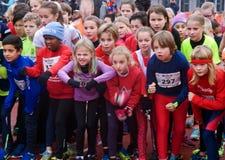 Multidão entusiasmado de crianças Imagem de Stock