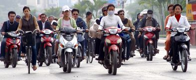 Multidão na rua asiática Fotografia de Stock