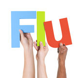 Multiethnic Arms Raised Holding Text Flu Stock Images
