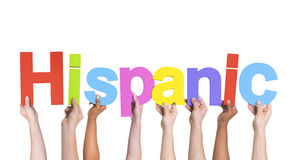 Multiethnic Arms Raised with Text Hispanic Stock Photo