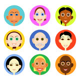 Multiethnic avatars set in flat vector style. Men and woman of smiling face icons Stock Images
