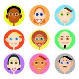 Multiethnic avatars set in flat vector style. Men and woman of smiling face icons stock illustration