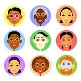 Multiethnic avatars set in flat vector style. Men and woman of smiling face icons vector illustration