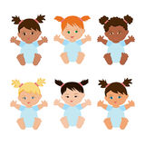 Multiethnic baby girls set. Stock Image