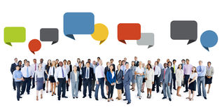Multiethnic Business People with Speech Bubbles Royalty Free Stock Image