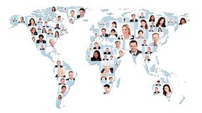 Multiethnic business people on world map royalty free stock image