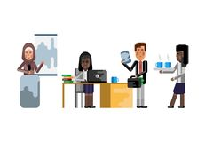 Multiethnic business teamwork in office. Multiethnic teamwork, arabic woman doing presentation, black businesswoman working at computer and secretary with coffee Stock Images