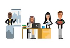 Multiethnic business teamwork in office. Multiethnic teamwork in office, african speaker doing presentation, arab man and asian secretary working with documents Stock Photography