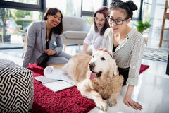 Multiethnic businesswomen petting furry dog while sitting on the floor at office. Smiling multiethnic businesswomen petting furry dog while sitting on the floor Royalty Free Stock Photos
