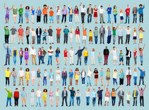 Multiethnic Casual People Celebration Arms Raised Concept Stock Images