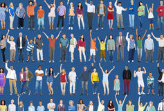 Multiethnic Casual People Togetherness Celebration Arms Raised C Stock Photos
