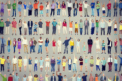 Multiethnic Casual People Togetherness Celebration Arms Raised C Stock Image