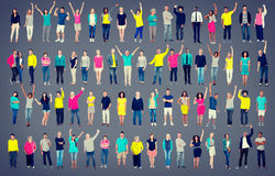 Multiethnic Casual People Togetherness Celebration Arms Raised C. Oncept Stock Image