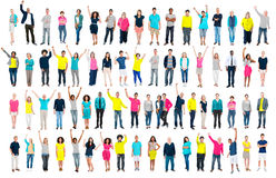 Multiethnic Casual People Togetherness Celebration Arms Raised C Stock Images