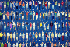 Multiethnic Casual People Togetherness Celebration Arms Raised C Royalty Free Stock Photo