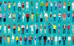 Multiethnic Casual People Togetherness Celebration Arms Raised C Stock Photography