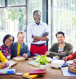 Multiethnic Cheerful Students with the Professor Royalty Free Stock Photo