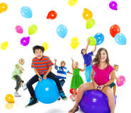 Multiethnic Children Balloon Happiness Friendship Concept Stock Image