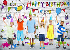 Multiethnic Children Celebrate Happy Birthday Party Royalty Free Stock Photos