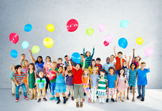 Multiethnic Children Smiling Happiness Friendship Balloon Concep Stock Photos