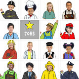 Multiethnic Children with Various Jobs Concepts Royalty Free Stock Photo