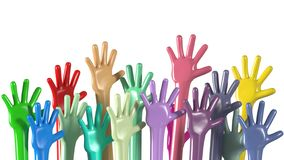 Multiethnic colorful hands raised up stock photography