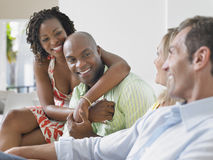 Multiethnic Couples Chatting Royalty Free Stock Photos
