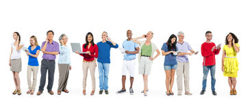 Multiethnic Diverse People Using Digital Devices Stock Photo
