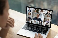 Free Multiethnic Employees Talk On Video Zoom Call Stock Photo - 217809860