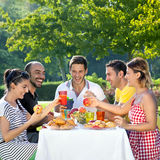 Multiethnic friends sharing an enjoyable meal. Seated at a table outdoors in the garden laughing and joking together Royalty Free Stock Photo