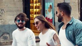 Multiethnic Friends Walking on Street