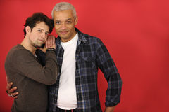 Multiethnic gay couple on red background Royalty Free Stock Photo