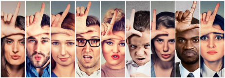 Multiethnic group angry bully people men women giving loser sign. Multiethnic group of angry bully people men and women giving loser sign on forehead, looking at Stock Photos
