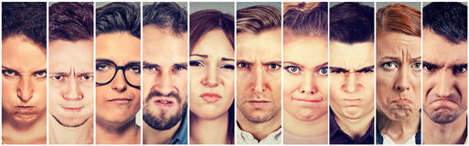 Multiethnic group of angry pissed off people men and women. Group of young angry pissed off people men and women Royalty Free Stock Image