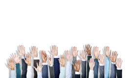 Multiethnic Group of Business Hands Raised Stock Photography
