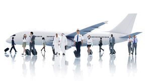 Multiethnic Group of Business People with Airplane Royalty Free Stock Photography
