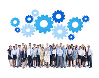 Multiethnic Group of Business People with Gears Royalty Free Stock Image
