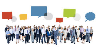Multiethnic Group of Business People with Speech Bubbles Royalty Free Stock Photo